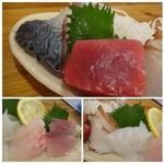 漁師居酒屋つねちゃん - 其々3切れずつです(赤身:見るからにキレイで美味しい・鯖:新鮮で美味しいそうです・蛸:普通・烏賊:甘みがあります・ 間八:珍しくも主人が美味しいと・鯛:普通に美味しい)