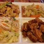 アジアンタワン - 春雨サラダ、タイヌードル炒めもの、野菜炒め、鳥唐揚げ