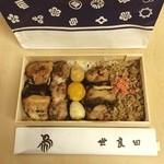 世良田 - 今日のランチは昨晩の会食@麻布十番で伺った「世良田」さんの「焼き鳥そぼろ醤油味」