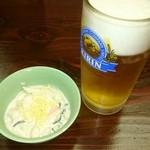 酒郷吉春 - 生ビール・お通し