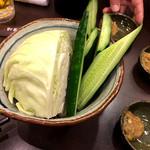 山内農場 鶴見東口駅前店 - お通しは、なんと~!                             新鮮野菜~!ヾ(≧▽≦)ノ