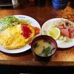 洋食 キムラヤ - オムライス+ハムステーキ