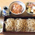 38504482 - そば膳(せいろ・変わりご飯・小鉢)1,080円+そば大盛り250円