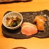 Kuusoushunsairaijin - 料理写真:お通し (烏賊の和え物、鴨ロース レモン風味、鮪の唐揚げ) (2015/05)