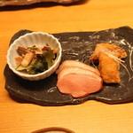 空創旬菜 雷神 - 料理写真:お通し (烏賊の和え物、鴨ロース レモン風味、鮪の唐揚げ) (2015/05)