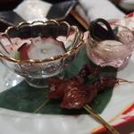 天ぷら 酒菜 醍醐 - この日の前菜 男鹿産のタコ・ホタルイカ・白子