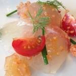 クレア - 鮮魚カルパッチョ-クスクスのオレンジ風味添え