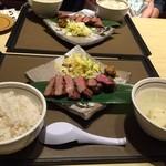 仙台 牛たん 三代目文治 - お皿は立派です。