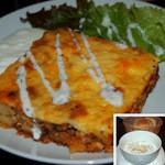 オルフィック バー - ムサカ&タラトル(冷たいヨーグルトスープ)&パンのランチ 1,000円