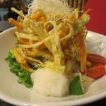 亀城庵 - 野菜のびっくりかき揚げぶっかけ