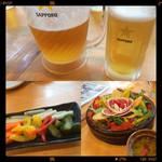 38543387 - 生ビール・地野菜のピクルス・バーニャカウダ