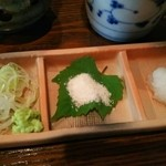 手打ち蕎麦  慶俊庵 - 薬味 (ねぎ・わさび&アンデスのピンクソルト&大根おろし)