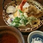 手打ち蕎麦  慶俊庵 - 料理写真:天ぷら&天つゆ&雪塩