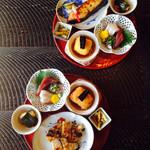 田舎 - メイン、豆腐コロッケ、お刺身、ズッキーニの田楽、大根の漬物
