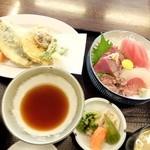 38565821 - 特別定食900円(刺身、いわし天ぷら)
