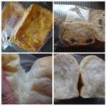 メルカート ラパンドール - 左上:ハニーフレンチトースト(180円)・・上から卵液を流して作られているようです。 右上:シュガーラスク(150円) 下:食パン(250円)・・生で食しても美味しかったですよ。