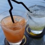 ジュメイラ オアシス - グレープフルーツ(左)と酵素ジュース