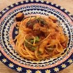 さんのかた - パンチェッタと野菜のトマトソースパスタ