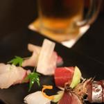 本長門 - 季節のお造り盛り合わせ、生ビール