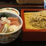 味乃魚隆 - 再訪時にオーダーした海鮮丼&蕎麦のセット。今度はもりそばにしてみたが、柔らかいことに変わりなく、残念!