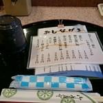 鮨庭 - カウンターに着席…汁物のメニュー