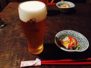 ○いけ   - お晩菜セット 生ビールと魚の南蛮漬け