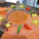 38623519 - 季節野菜を添えたガスパチョスープ(730円)