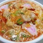 新旬屋 麺 - スーラーホルモン麺いただきました。コリコリ歯ごたえの良い牛ホルモンと、甘辛すっぱいスープと、とろとろの卵は絶品です!