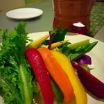 38636309 - バーニャカウダ。ポイントカードを貯めてタダでいただきました!生野菜でソースがとても美味しいです。