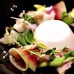 lumielune - 新たまねぎのブランマンジェ ホッキ貝と文旦のサラダ