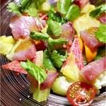 lumielune - 天然ブリの刺身と季節野菜、フルーツのサラダ       レモンコンフィ