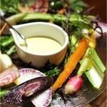 lumielune - 有機野菜のクリュデイテ       蟹風味のアイオリ