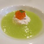 モンプチコションローズ - 27年5月 冷製メロンスープ 蟹のムース、鱒の卵