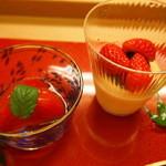 京料理かねき - 水菓子 トマトの蜜煮 苺と豆乳のムース・小豆餡