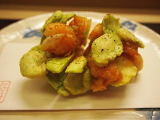 京料理かねき - 芝エビと空豆のかき揚げ