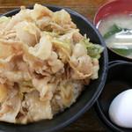38703887 - すた丼【生卵・漬け物・味噌汁付き】飯増量 630円。