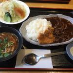 38708136 - ハヤシライスとカツ定食