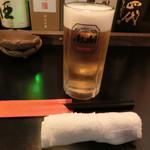 千栄乃和 - 生ビール 中(アサヒスーパードライ)550円。
