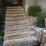 アオゾラオソラ 錦小路 - 看板に引きつけられて、                             こちらの階段を上がりま~す