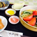 長生庵 - 料理写真:冷やし中華セット ミニオイナリ付き900円