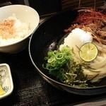 柔製麺 - ☆150530_柔製麺@南千里(辛国産牛肉とごぼうの冷やしぶっかけ①)