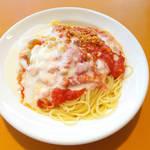 欧風食堂 カンパーニャ - 焼きなす・山芋・鶏そぼろのトマトクリームソース(セット¥900)