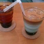 Narashino Cafe - ロイヤルミルクティー(アイス)、本日のアイスティー(アールグレイ)