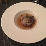 38781685 - 青大豆とひじきのコラーゲンスープご飯  煮穴子を添えて