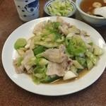 三ちゃん食堂 - 井之頭五郎さんが美味しそうに食べていた「ネギ肉イタメ (600円)」