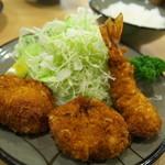 とんかつ美とん - ミックス定食(海老、ヒレ)