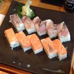 OHASHI - コース料理の鯵とサーモンの押し寿司