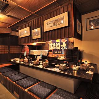 秋田県の古民家風の店内
