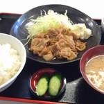 定食 稲 - 豚生姜焼き定食¥750