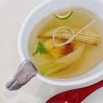 京料理いしす - 腕盛 焼玉蜀黍豆腐・ヤングコーン・茗荷子・結び三つ葉・柚子